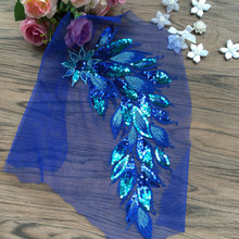 2Pcs Royal Blue Sequin Embroidered Patches Net Mesh Fabric African Lace Applique Sew On Wedding Dress Clothes Accessory