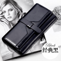 HANYUNA BRAND Oil Wax Genuine Leather Wemen Wallet Big Capacity Multi Functional Ladies Wallet Lont Type