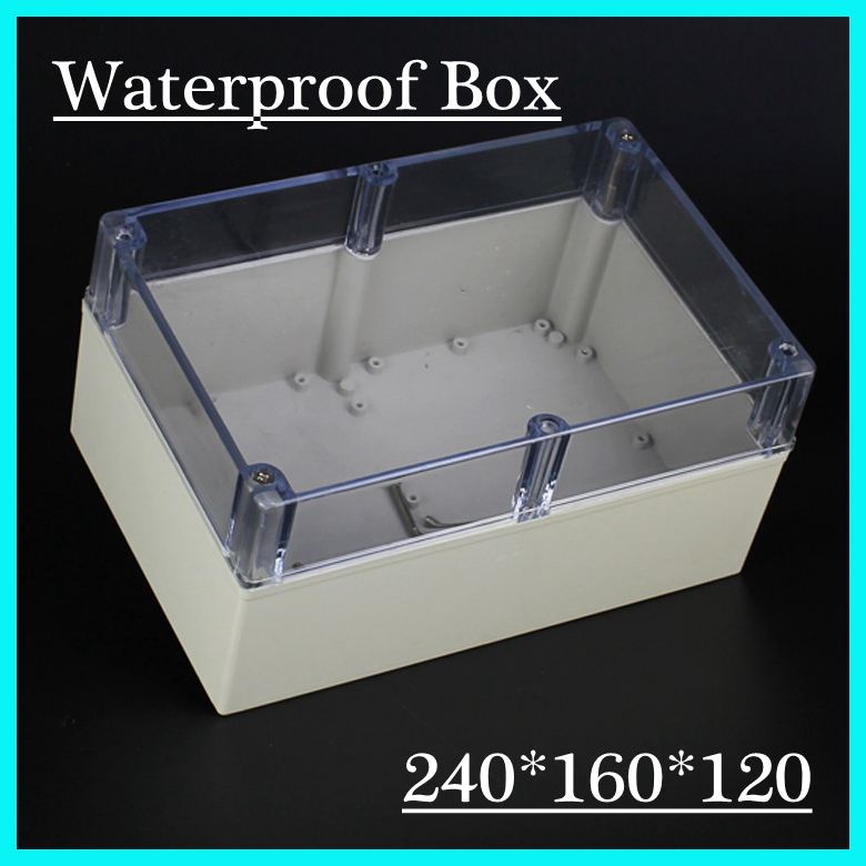 (1 piece/lot) 240*160*120mm Clear ABS Plastic IP65 Waterproof Enclosure PVC Junction Box Electronic Project Instrument Case цена