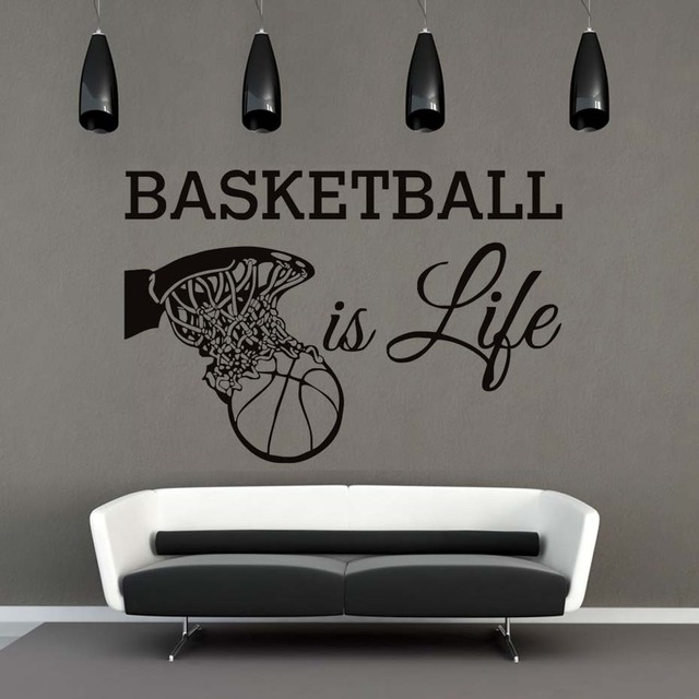 Basketball Is Life Wall Stickers Vinyl Removable Self Adhesive Wallpaper Home Decor Into Basket For
