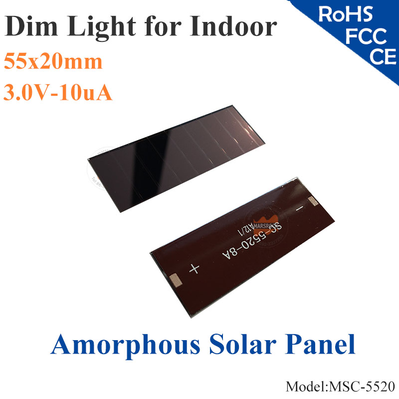55x20mm 3.0V 10uA dim light Thin Film Amorphous Silicon Solar Cell ITO glass for indoor Product,calculator,toys,0-2.5V battery