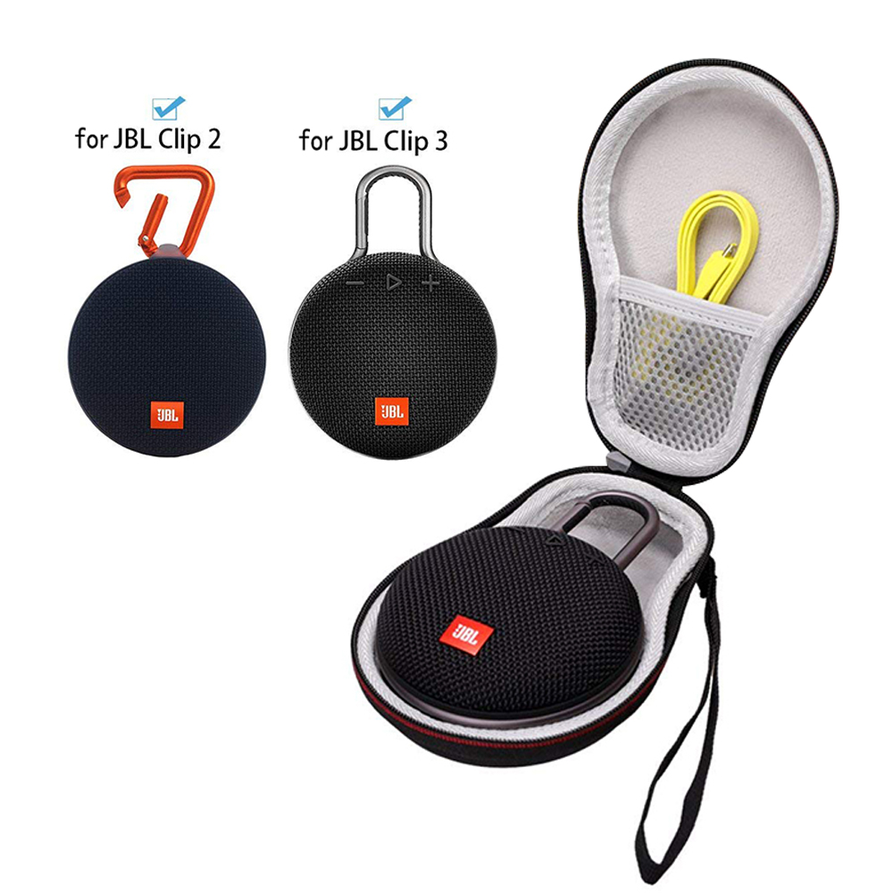 Black Fits USB Cable Hard Case Travel Carrying Storage Bag for JBL Clip 2//JBL Clip 3 Wireless Bluetooth Portable Speaker