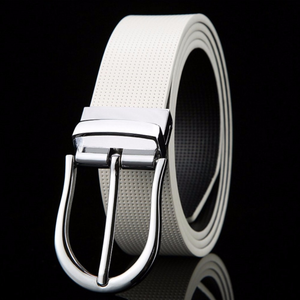 Men's Belts Dutiful Men Leather Belt Casual High Quality Two Side Dot Strap Black White Male Belts Rotating Silver Buckle Ceintures Homme Utmost In Convenience