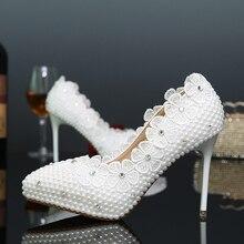 Elegante Weiße Perle Modellierung High Heels Party Komfortable Brautschuhe Hochzeit Schuhe Spitz Dünne Ferse Brautjungfer Schuhe