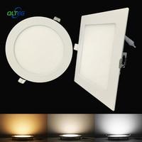 Panel Downlight LED ultrafino, 3W, 6W, 9W, 12W15W, 18W, redondo/cuadrado, luz LED empotrable de techo, AC85-265V, lámparas regulables