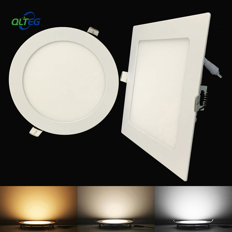 Ultra Thin LED Panel Downlight 3W 6W 9W 12W15W 18W Round/ Square LED Ceiling Recessed Light AC85-265V LED Panel dimmable lamps image