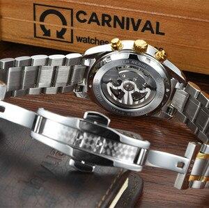 Image 5 - קרנבל tourbillon חם אוטומטי מכאני מותג גברים של שעונים אופנה צבא ספורט עמיד למים שעון זוהר יוקרה מלא פלדה