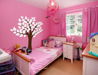 Large Wall Tree Baby Nursery Decal Leaf Cherry Birds Sticker Girl Flower Oak h96in