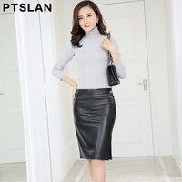 2017 New Spring Autumn Women Sexy Genuine Leather Skirt European Style Black Pencil Button Skirts Midi