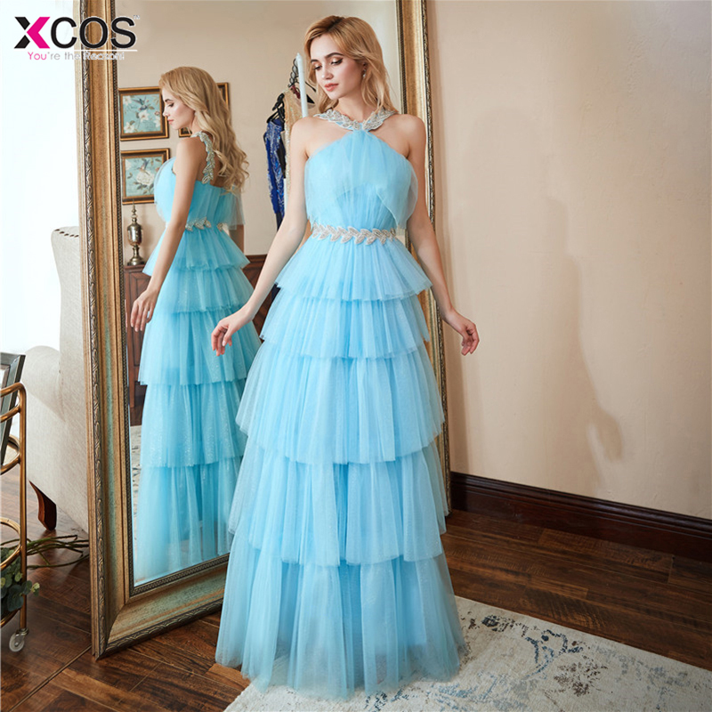 New Arrival Long   Prom     Dresses   2018 Luxury Beaded Top Tank Sleeveless Crystals Blue Tulle Formal Evening   Dress   Party Gown