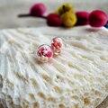 Um Par Rosa Vermelho Branco Babysbreath Flores Reais 925 Sterling Silver Stud Brincos Para Mulheres Jóias Da Moda Coreana Bonito Boêmio