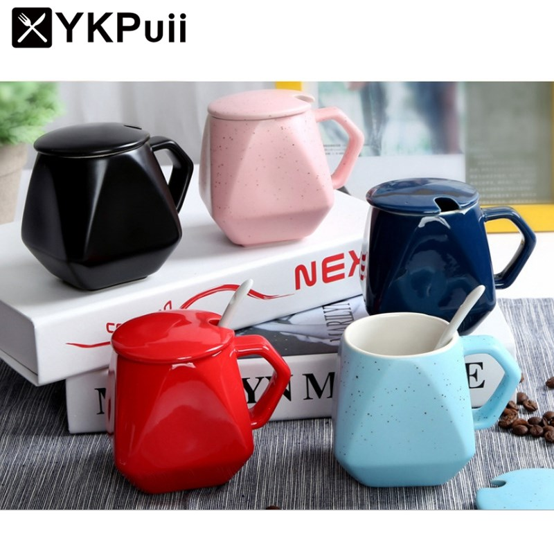 300ml Lovely Ceramic Milk Coffee Mug Cups With Lid Spoon Breakfast Tea Coffee Mug Office Water Cup Drinkware Gifts
