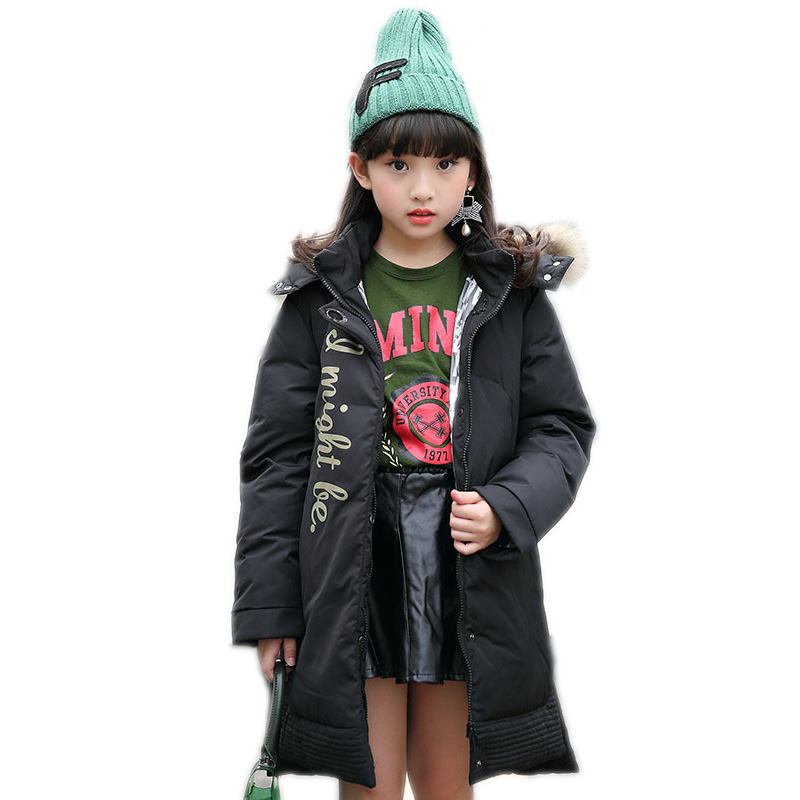 2017 winter girls jackets long kids winter coats white duck down girls parka down jackets thicken warm hooded children outwear