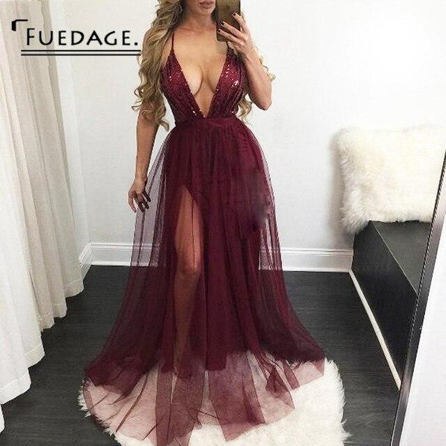5655e671b7 Fuedage Sequined Maxi sukienka kobiety głęboki dekolt Backless elegancka  sukienka w stylu Vintage sukienka do klubu linia Casual sukienka na imprezę  ...