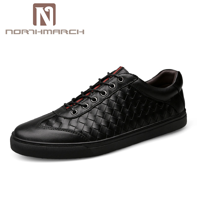 NORTHMARCH Men's Shoes Genuine Leather Men Casual Shoes Men Fashion Breathable Designer Lace-Up Flats Sneakers Shoes Chaussure northmarch brand genuine leather men casual shoes fashion style leather men shoes designer casual shoes for sneakers men summer