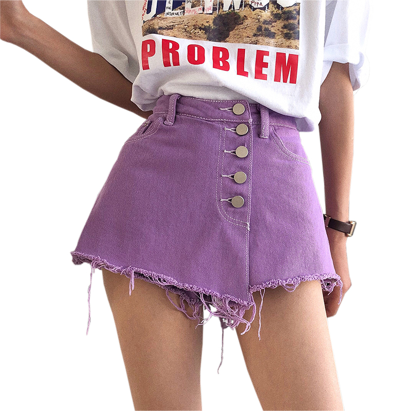 2018 New Fashion Women Short <font><b>Jeans</b></font> Blue White <font><b>Purple</b></font> Solid Summer School Denim Shorts Girls Casual Button Pocket Short <font><b>Jeans</b></font>