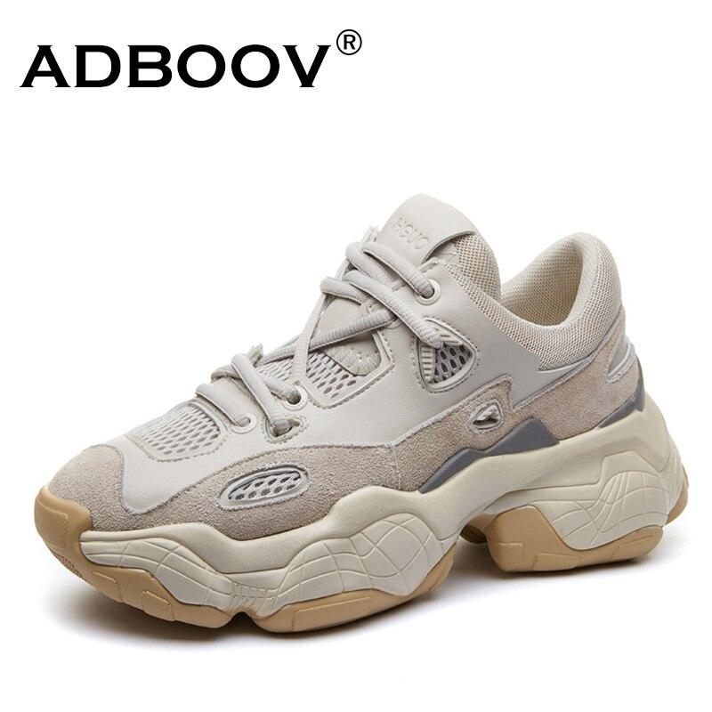 ADBOOV Novo Respirável Chunky Plataforma Sneakers Mulheres Sapatos de Camurça de Couro de Vaca Na Moda Mulher Formadores Calçados Femininos Cesta Femme