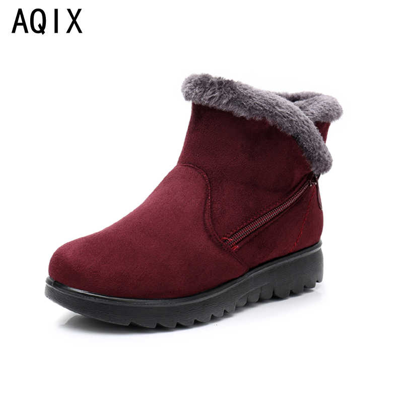 2019 Female Fashion Zip Winter Snow Boots Ladies Warm Fur Suede Wedge Ankle Boot Women plus size 35-43 woman shoes