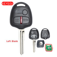 Keyecu Afstandsbediening Sleutelhanger 3 Button 433 MHz ID46 Chip voor Mitsubishi Lancer CJ-Sedan Ongesneden Links Blade