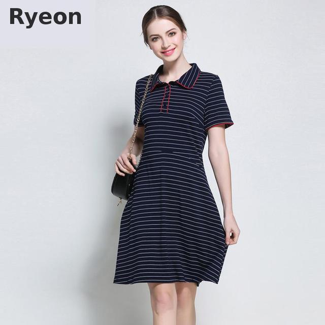 b0aa26dfd0d Ryeon 5xl Plus Size Cotton Summer Stripe Dress Beach Wear Casual Simple  Turn Down Collar Vintage A Line Retro Women Dresses