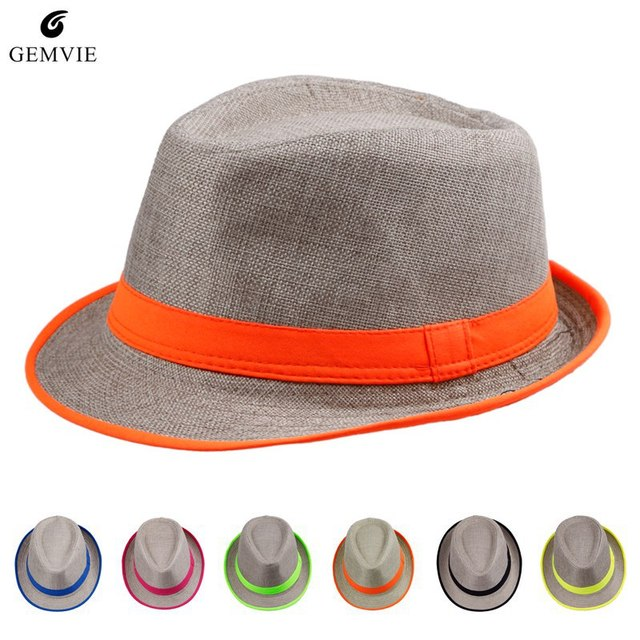 30bebc4ca9 New Stylish Chic Unisex Caps Neon Strip Festival Trilby Straw Beach Hats  Boys And Girls Fashion Caps For Party Evening Hats