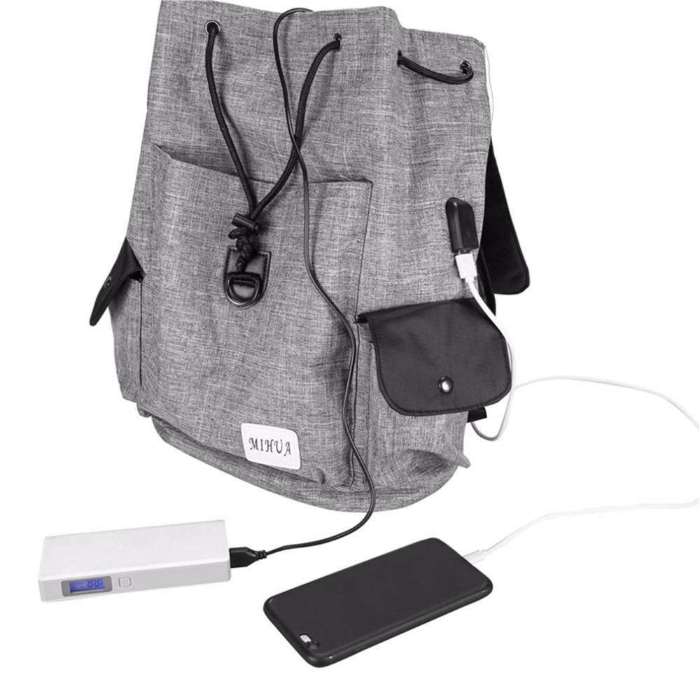 Anti-Theft USB Charging Men Women Backpack Canvas Solid Color Teenagers Student School Bag Travel Security Laptop Backpack kingsons external charging usb function school backpack anti theft boy s girl s dayback women travel bag 15 6 inch 2017 new