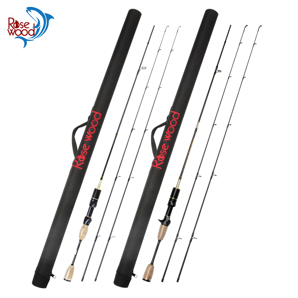 Rosewood UL Fishing Rod With Case Double Tips Utra Light Carbon Soft Lure Spinning Casting Rods