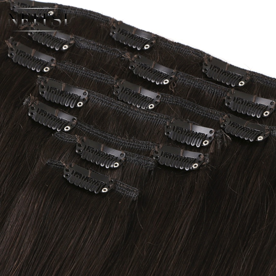 Neitsi Ombre Brazilian Machine Made Remy Clip In On Human Hair Extensions Straight Clip Ins Hair
