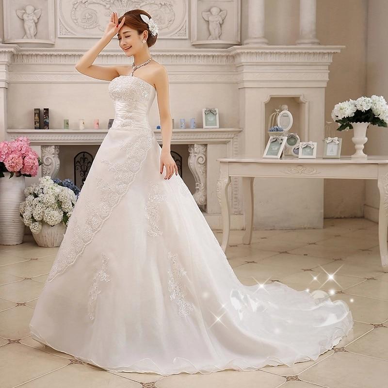 Свадебное платье большого размера со шлейфом, белые свадебные наряды, платья для невесты, весна-лето, XXN001