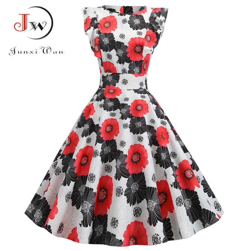 2019 Vrouwen Zomer Jurk Retro 50 S 60 S Gewaad Femme Rockabilly Pinup Party Vestidos Plus Size Casual Elegante Bloemen kantoor Jurk