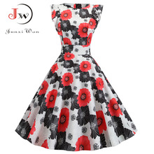 Women Summer Dress Retro 50s 60s Robe Femme Rockabilly Pinup Party Vestidos Plus Size Casual Elegant Floral Office Dress