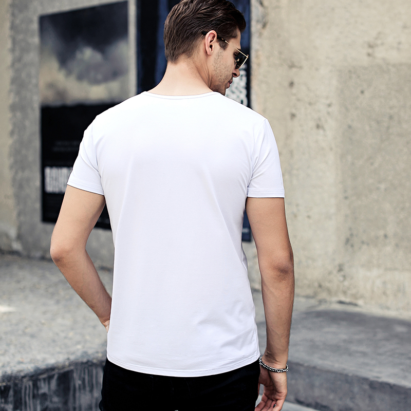 NIGRITY mens t shirt New Casual short sleeve o-neck Inverted triangle printed modal t-shirt men brand tee shirt big size M-4XL 66