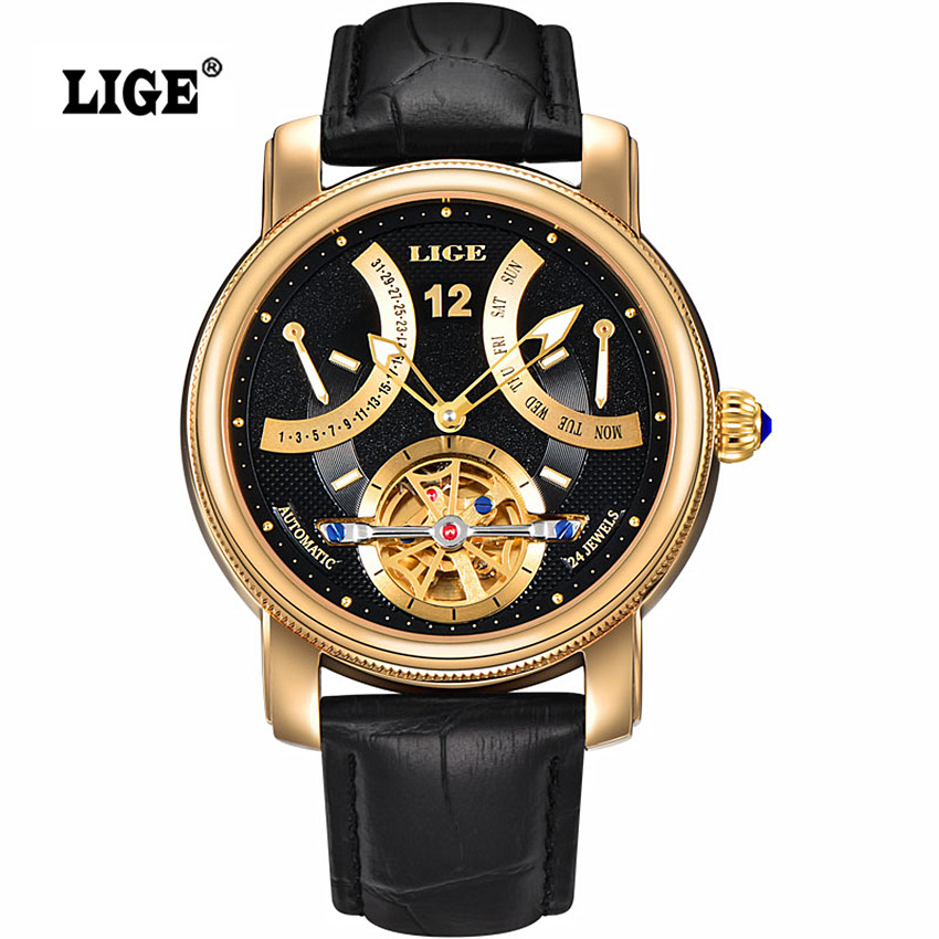 2016 LIGE Brand Men's Automatic Watch Man Waterproof Fashion Casual Business Watches men Leather strap Gold Clock reloj hombre