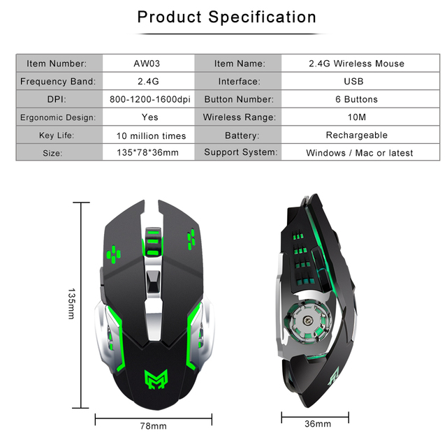 Anmck Wireless Rechargeable Gaming Mouse 2.4Ghz Optical RGB Ergonomic Gamer Protable 5