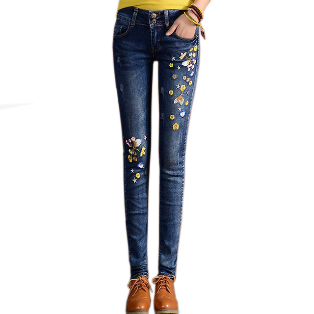 2017 Embroidered Jeans For Women Feet Thin Pencil Pants High Waist Jeans Women All Match Pantalon Femme Plus Size Trousers FL290