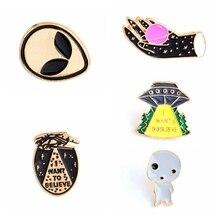 1pc Cartoon Space Shuttle Planet Brooch Cute Brooch Bag Jacket Lapel Pin  Buckle Badge Jewelry Gift