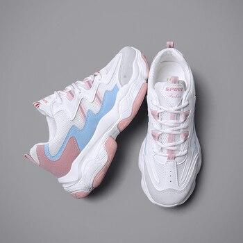 187900ea11 Zapatos de mujer Zapatillas de deporte de moda a pie plano plataforma  deporte calzado cesta Femme papá zapatos casuales zapatillas rosa Tenis  Femenino