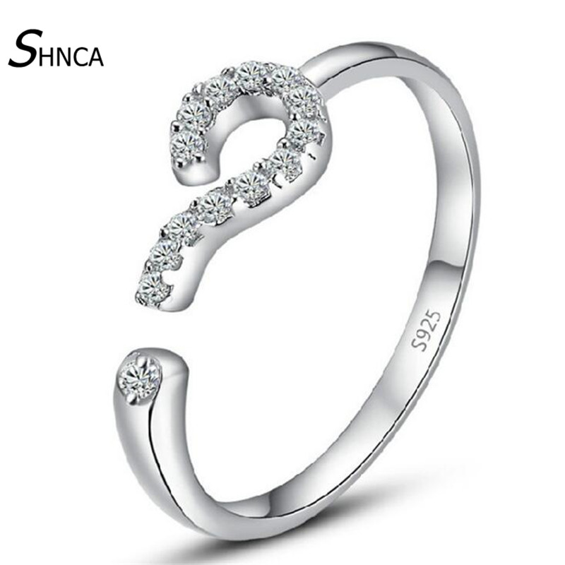 New Creative 925 Sterling Silver Fine Jewelry Question Mark Shape Unique Open Trendy Rings For Women Plata De Ley 925 R107
