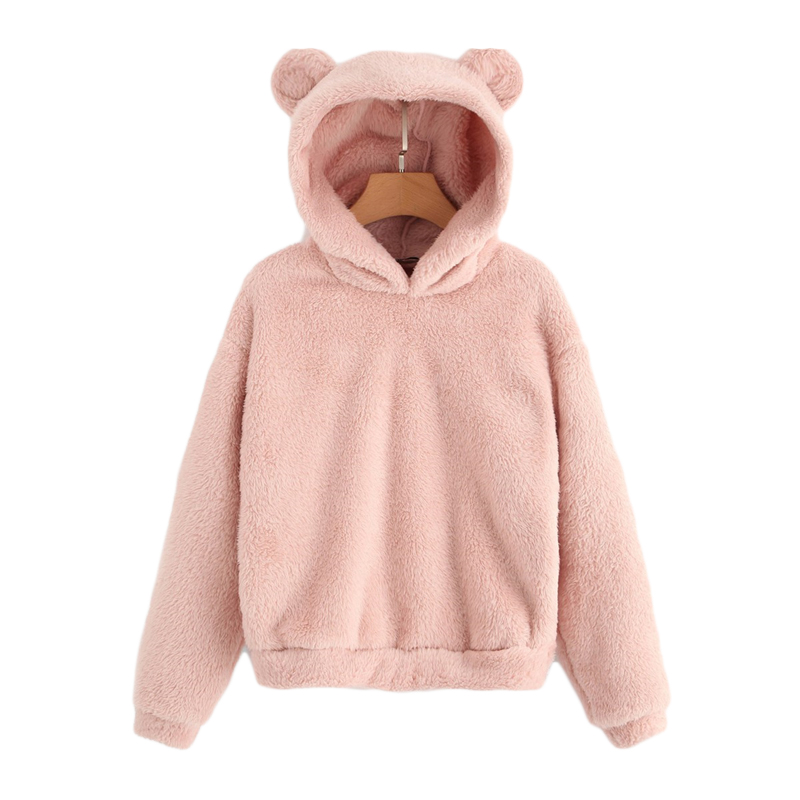 SHEIN Preppy Lovely With Bears Ears Solid Teddy Hoodie Pullovers Sweatshirt Autumn Women Campus Casual Sweatshirts 9