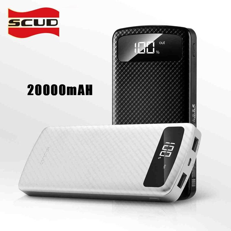 20000 mAh batterie externe avec affichage numérique de LED batterie externe SCUD double USB haute vitesse charge rapide mince borne chargeuse portable 2.1A
