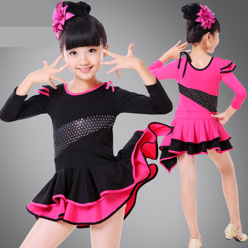 Children Latin Dance Costume Girl Lace Long Sleeve Ballroom Dance Dress / Tango/ Salsa Dance Clothing Kids Gymnastics Leotard 89