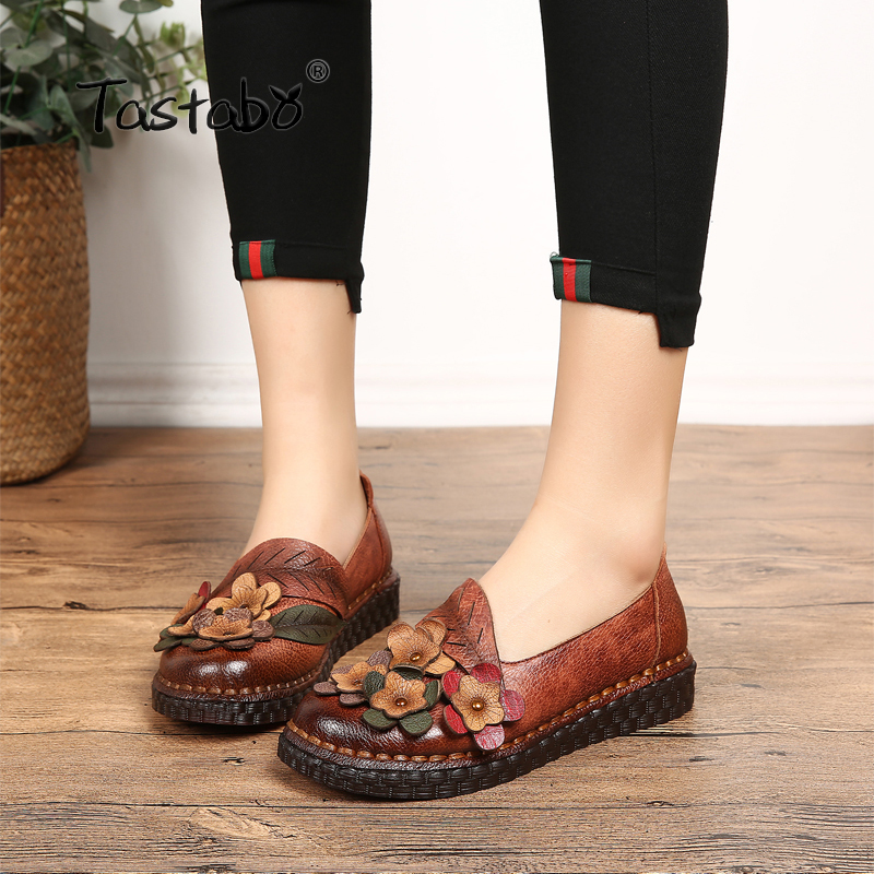 Tastabo Casual Genuine Leather Flat Shoe Women Shoe Flower Driving Shoe Female Moccasins Women Flats Hand-Sewing Shoes