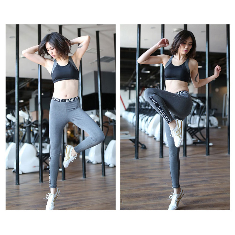 Di grandi Dimensioni di Yoga Set 4 pezzi Tute Vestito di Sport Femminile di Fitness Traspirante Esercizio All'aperto Lettera Palestra Abbigliamento Sportivo Delle Donne Pantaloni - 2