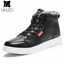 VIXLEO New Arrival 2017 Fashion Men Warm Ankle boots High Quality Flats Shoes Black Men's Casual High Top Shoes