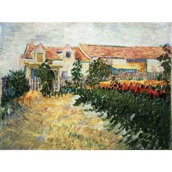 House with sunflowers by Vincent Van Gogh Reproduction oil painting Canvas art Handmade High quality