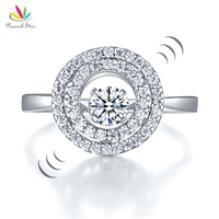 Peacock Star Dancing Stone Double Halo Solid 925 Sterling Silver Ring Fashion Wedding Jewelry CFR8285