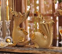 European-style vase with the creative living room TV cabinet decoration ceramic couple fish.