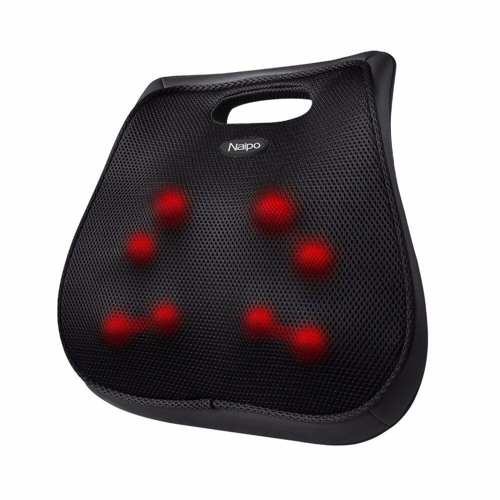 Naipo Shiatsu Lower Back Massager Heat Vibrator 3D Massage Cushion Car Home Office Use Antistress цена 2017