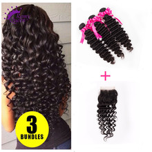 Peruvian Deep Wave Virgin Hair With Lace Closure Human Hair Weave Lace Closure With 3 Bundles
