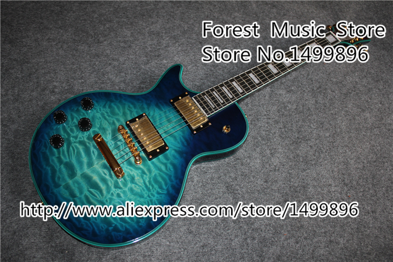 Vintage Blue Quilted Finish Left Handed LP Custom Guitars Electric Chinese OEM Guitar Body & Kits Available china custom shop grey quilted guitar body 7 string electric guitar left handed available